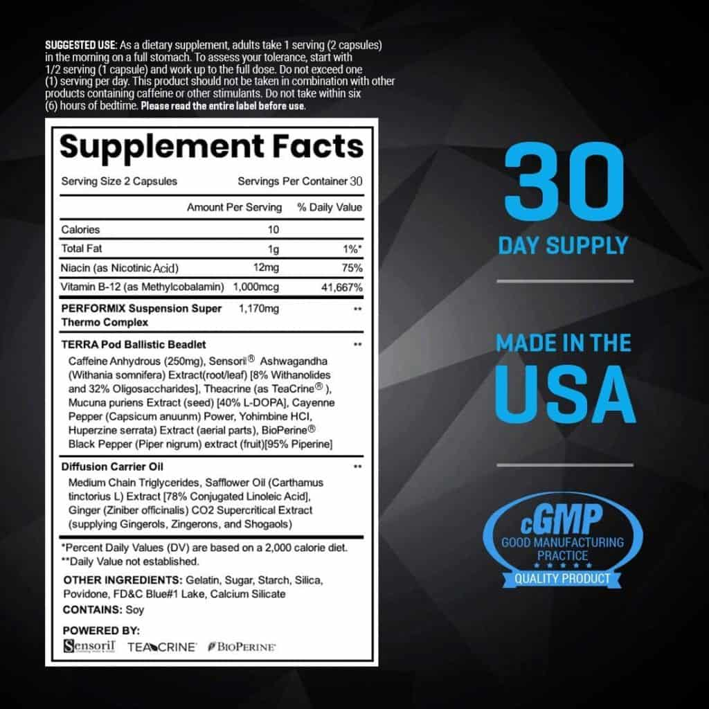 Performix SST Supplement Facts