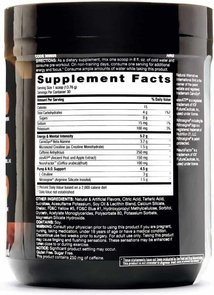 LIT Pre-Workout Supplement Facts