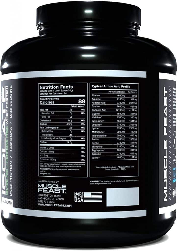 MuscleFeast Isolate Nutrition Facts